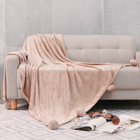 Pom Pom Faux Mink Throw Printed Mink