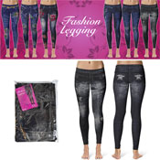 Denim Look Fashion Leggings Ripped Dark