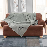 Stag Embroidered Soft Teddy Feel Throw Silver