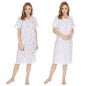 Ladies Four Button Woven Flower Design Nightie
