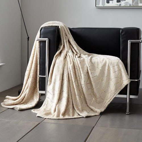 Metallic Cube Faux Mink Throw Natural