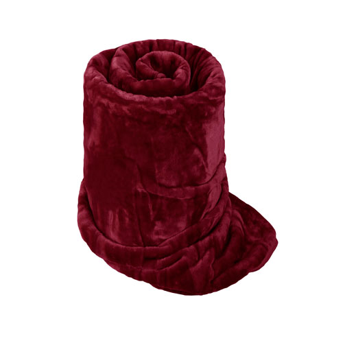 Faux Fur Mink Burgundy Blanket