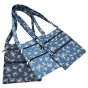 Ladies Shoulder Bag With Zip Pockets Denim Butterfly
