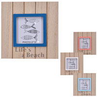 Wooden Block Photo Frame With Stand Beach Small