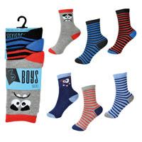 Boys 3 Pack Stripes And Face Design Socks