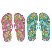 Ladies Floral Print Flip Flop Blue/Pink