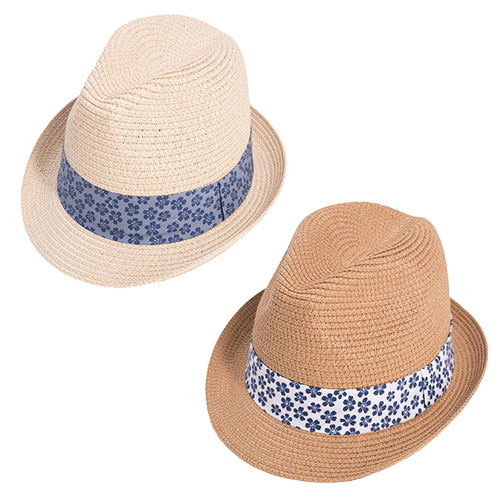 Adult Unisex Straw Trilby Hat With Patterned Band