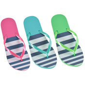 Ladies Top Striped Print Flip Flop