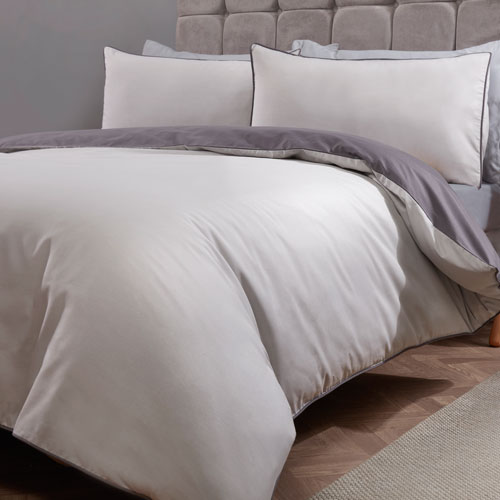 Essential Reversible Duvet Set Grey