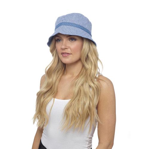 Ladies Stripe Denim Bush Hat with Spotty Band