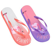 Girls Flamingo Design Flip Flops Pink/Lilac