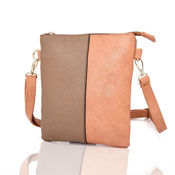 Ladies Hailey Split Design Crossbody Bag Beige