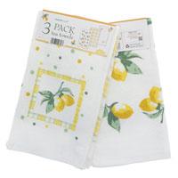 3 Pack Velour Kitchen Towels Lemons