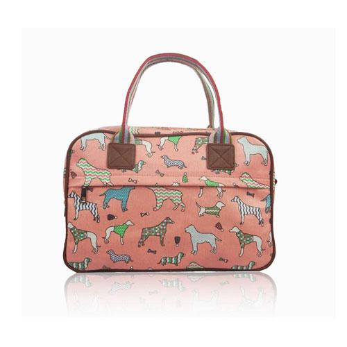 Ladies Dog Day Canvas Weekend Bag Dark Pink