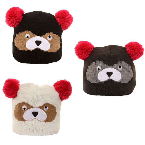 Girls Knitted Pom Pom Hat Bears