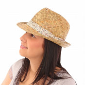 Ladies Straw Trilby Hat with Flower Trim