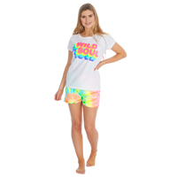 Ladies Tie Dye T-Shirt And Shorts Set