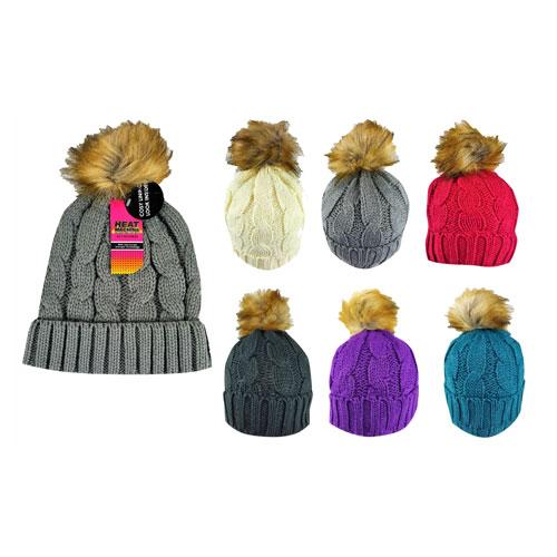 Ladies Natural Pom Pom Hat Cosy Lining