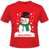 Childrens Christmas T-Shirt Snowman Red