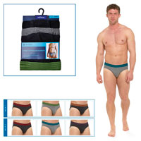 Mens 3 Pack Briefs Striped Waistband