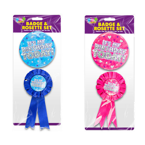 Birthday Party Badge & Rosette Set