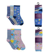 Ladies Cloud Design Cotton Rich Socks 3 Pack