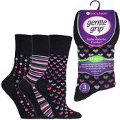 Ladies Bamboo HoneyComb Gentle Grip Socks Hearts/Lines