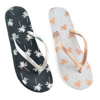 Ladies Palm Tree Flip Flops With Glitter Strap