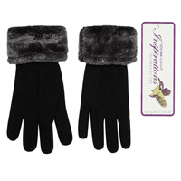 Ladies Black Fleece Gloves With Fur Trim