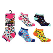 Ladies ProHike 3 Pack Trainer Socks Coloured Spots