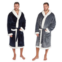 Mens 2 layer Fleece And Sherpa Gown