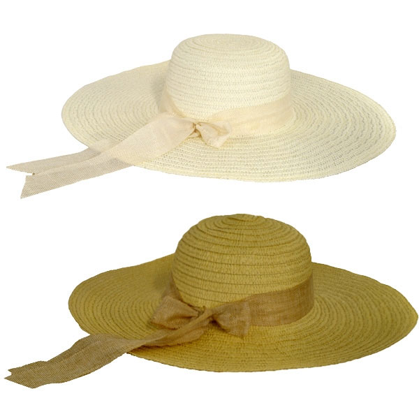 Ladies Wide Brim Hat With Coloured Ribbon