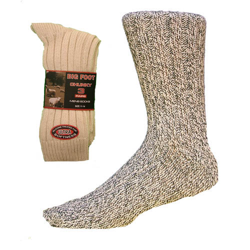 Mens Big Foot Chunky Wool Blend Socks