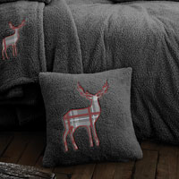 Stag Embroidered Soft Teddy Feel Cushion Cover Charcoal