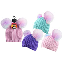 Girls Heat Machine Rainbow Pom Pom Hats