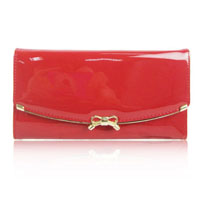 Patent Bow Flap Over Purse Red