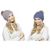 Ladies Soft Beanie Hat With Fur Pom Pom