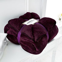 Aubergine Flannel Sherpa Throw