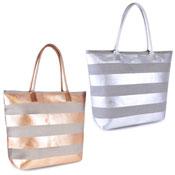 Ladies Striped Style Metallic Beach Bag