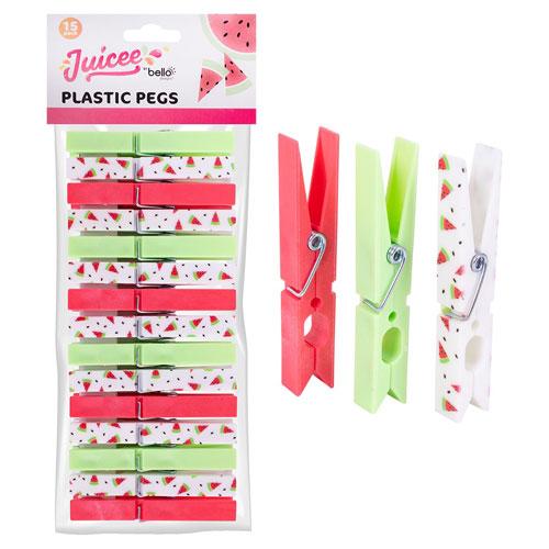 Watermelon Design Pegs 15 Pack
