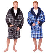 Mens Checkered Dressing Gown with Hood