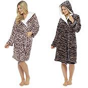 Ladies Animal Print Fleece Dressing Gown