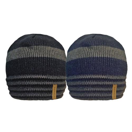 Mens 2 Tone Stripe Beanie Hat With Rib Cosy Fleece Liner Carton Price