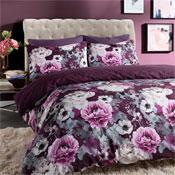 Inky Floral Purple Reversible Duvet Set