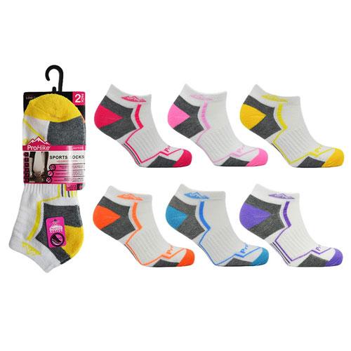 Ladies Pro Hike Cushion Trainer Socks White Stripes