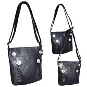 Ladies Black Faux Leather Hand Bag With Flower Trim