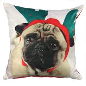 Pug Antlers Cushion Cover