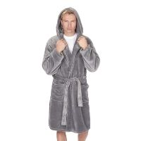 Mens Flannel Hooded Gown Grey