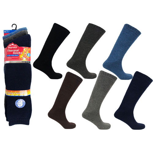 Mens Long Thermal Socks Brushed Assorted
