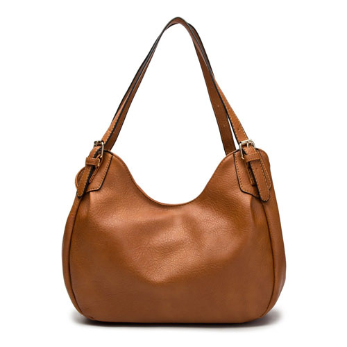 Nichole Buckle Strap Slouch Bag Tan